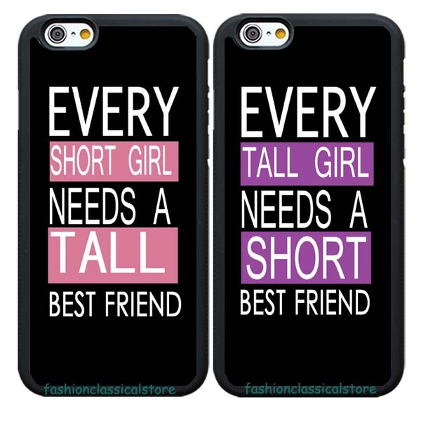 low priced 27f33 c262c 2PCS Every Tall Girl Needs Short Best Friend BFF Cute Girls Friends Cell  Phone Covers Rubber Case For Samsung Galaxy S3/S4/S5/S6/S7/S8 Note  2/3/4//5/8 ...