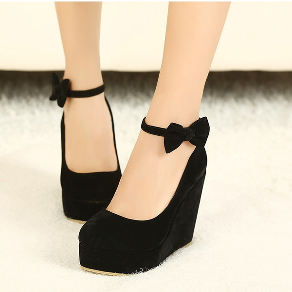 MCCKLE Women High Heels Shoes Fashion Buckle Wedges Ladies Buckle Bowtie Pumps Platform For Woman Plus Size sapato feminino