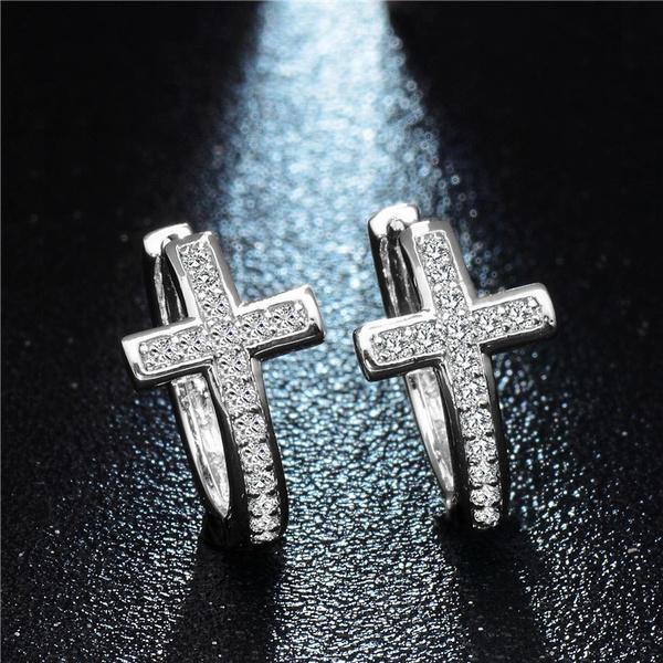 Sterling, crossearring, Hoop Earring, Jewelry