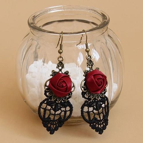 halloweenearring, Goth, Lace, vintage earrings