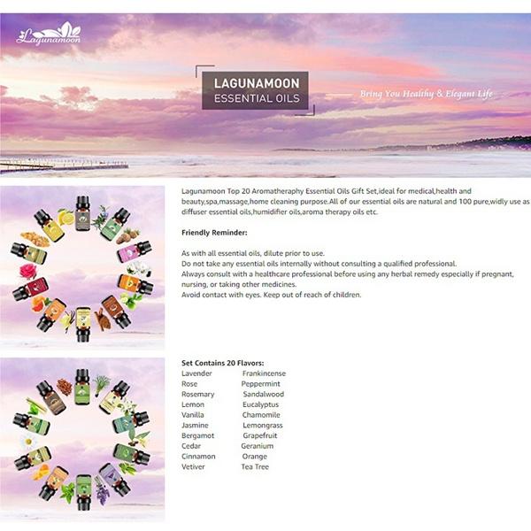Geek Lagunamoon Essential Oils Set Aromatherapy Premium