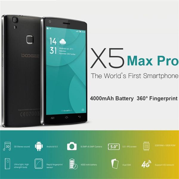 Promotion! DOOGEE X5 Max pro 4G 5 0inch Phone Fingerprint 2GB RAM 16GB ROM  Mobile Phones EU Plug