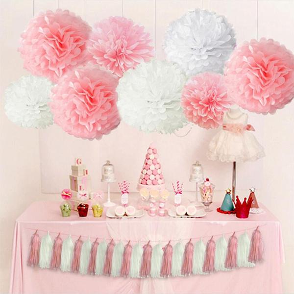 5pcs 10 15 20 25 30cm Tissue Paper Pompoms Birthday Decoration Pom Poms Flowers Home Decor For Wedding Party Supplies