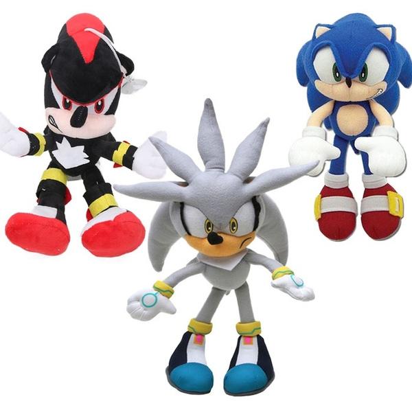 Set Of 3 Super Sonic The Hedgehog Plush Toys Shadow Silver Blue Sonic Wish