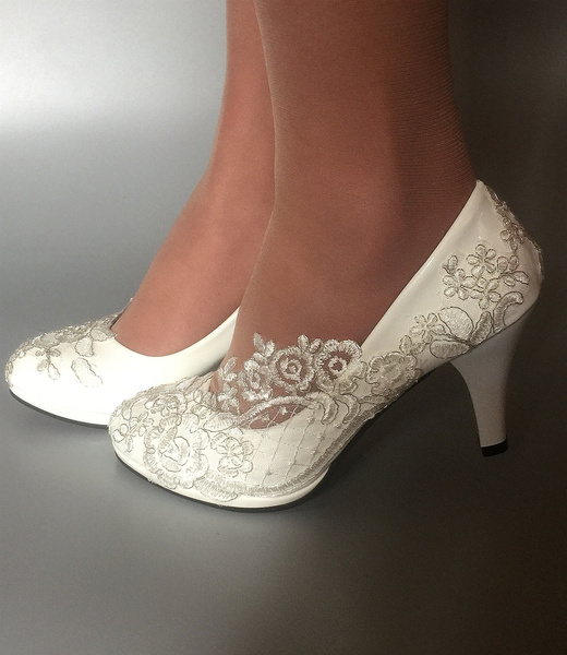 Scarpe Sposa Wish.Beautiful White Pearl Lace Crystal Wedding Shoes Bridal Heels