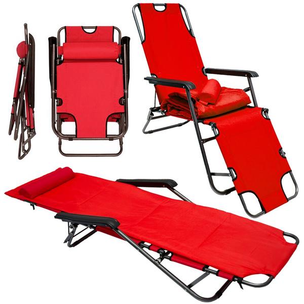 Campingstuhl Liegestuhl.Campingstuhl Liegestuhl Ama Yu 86 Rot 178x60 Cm Incl Auflage