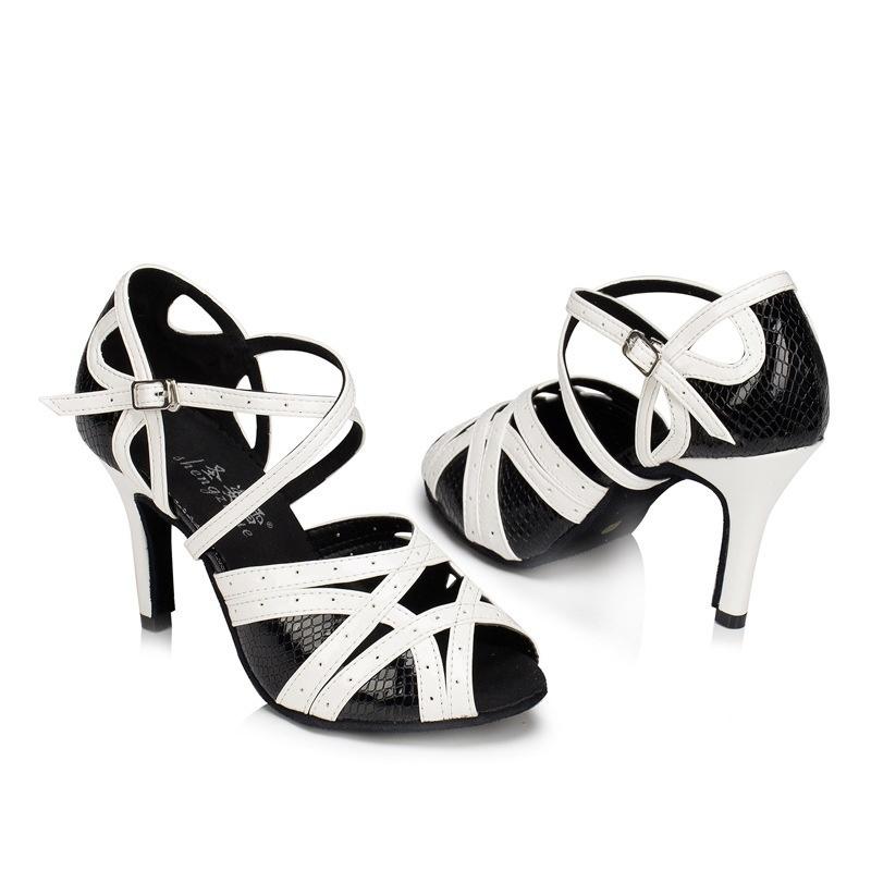 Latino Compre Blanco De Negro Mujer Zapatos Para Baile FRRrtqx