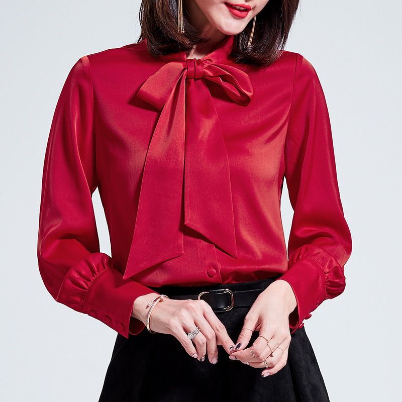 86f54527d04dc6 Details about Womens Satin Real Silk Button Down Blouse Top Bow Tie Neck  Shirt Long Sleeve NEW