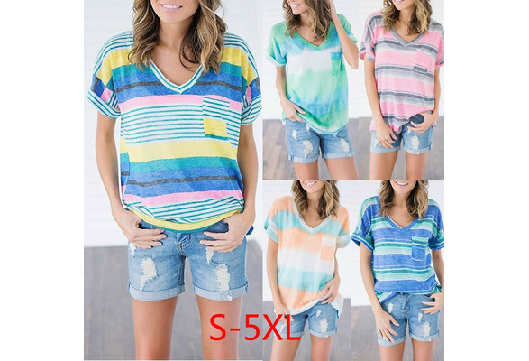 2018 Women Fashion Summer Short Sleeve Tops Casual V-neck Shirt  Stripes Loose Blouse Ladies Cotton Pullover T-shirt Plus Size S-5XL