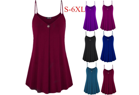 Women's Fashion Summer Sexy Solid Color V-Neck Sleeveless Shirt Cotton Casual Button Loose Hem Tank Top Plus Size S-6XL