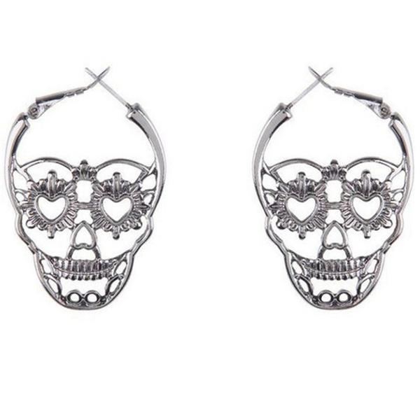 1927802aa 1 Pair Punk Skull Earrings for Men Boys Cool Silver Jewelry Hip-hop ...