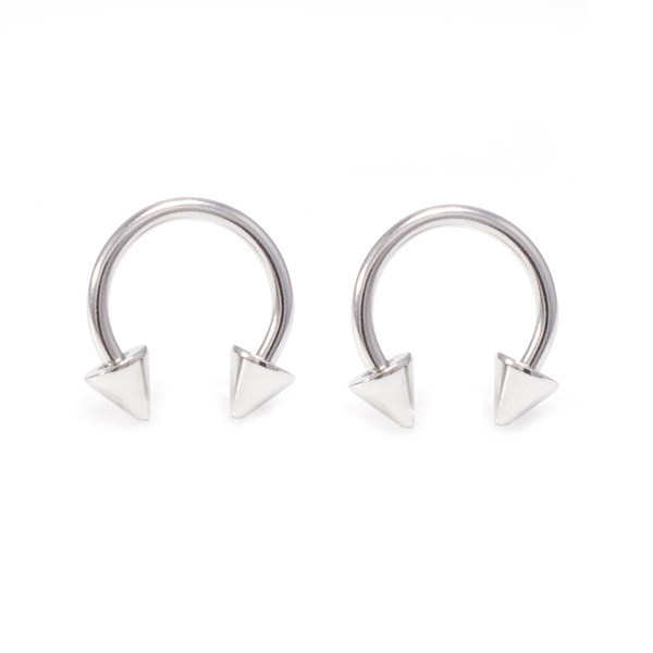 Pair Of 316l Surgical Steel 14g Spike Horseshoe Nose Piercing