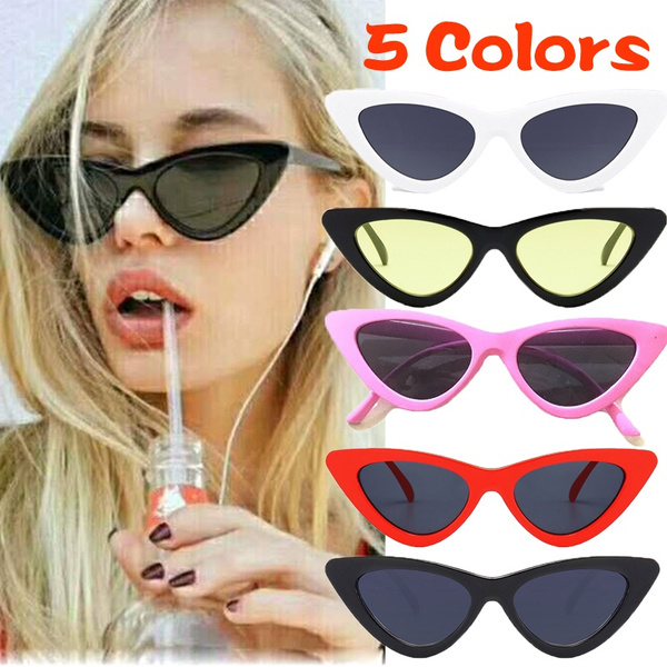d1b4864358aa0 Peekaboo Cute Sexy Retro Cat Eye Sunglasses Women Small Black White ...