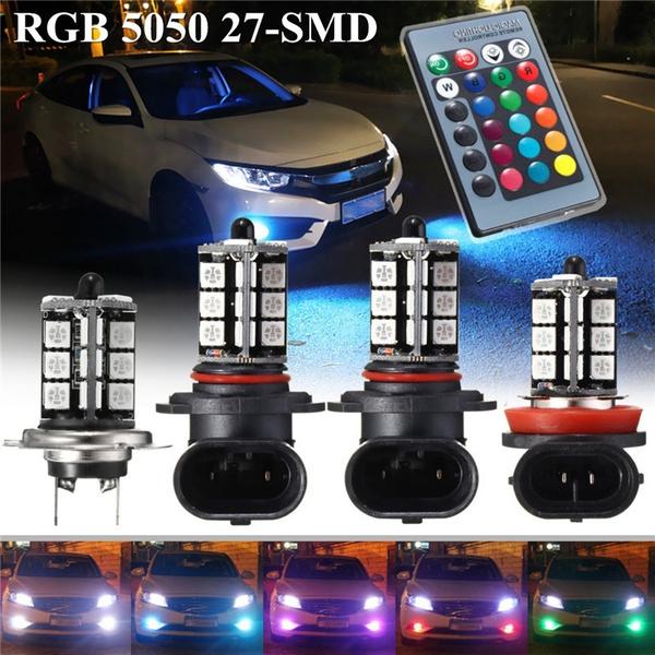 2pcs New RGB Wireless 9006 HB4 9011 27-SMD LED Decoration Bulbs Fog Hi-Beam DRL