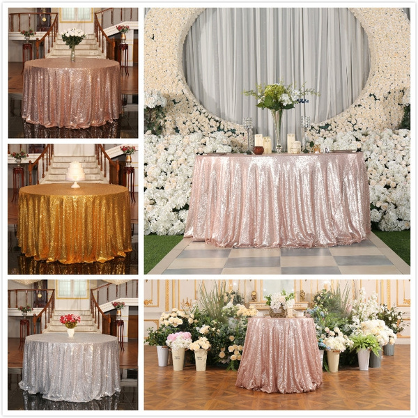 120cm 180cm Diameter Round Sequin Tablecloth Designed Festival Gold Silver Champagne Rose Decoration Sparkly Circle Table