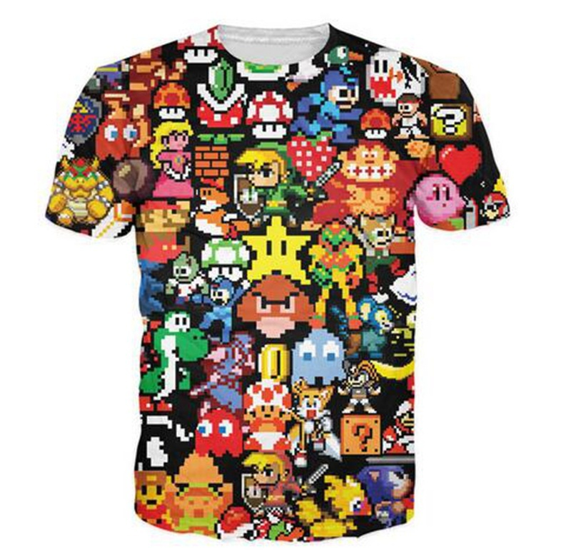 Arcade Collage T Shirt Pikachu Kirby