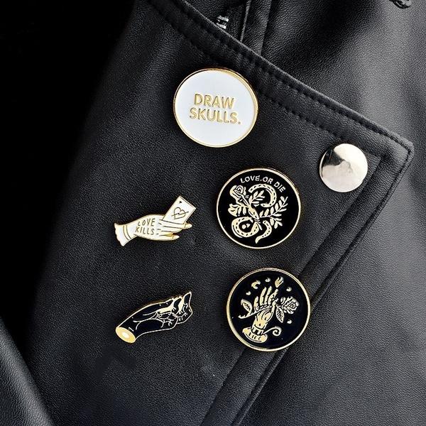 Skull Lapel Pin Badge Pin 5pcs Arts,crafts & Sewing Apparel Sewing & Fabric