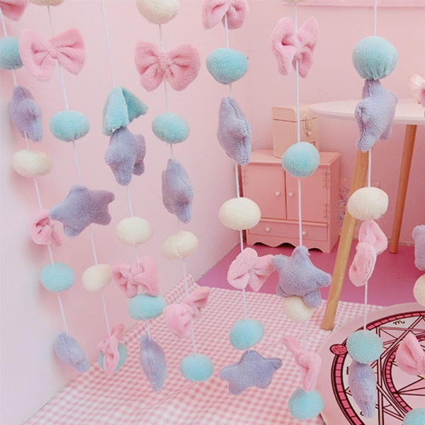 Japanese Girls Fluffy Curtain Kawaii Multicolour Sweet Bowknot Pentacle Colorful Wedding Home Decor Cute by Wish