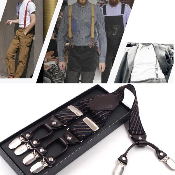 Men Stripe Y-shape Suspender With Non-slip 6 Clips Elastic Adjustable Pant Braces Men's Accessories Apparel Accessories