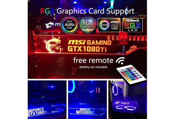 Support Asus Aura Sync RGB LED Luminous Graphics Card Holder Support  Farcry5 MSI ROG Nvidia PUBG Gigabyte Pc Case Decoration GPU Bracket Free  Remote