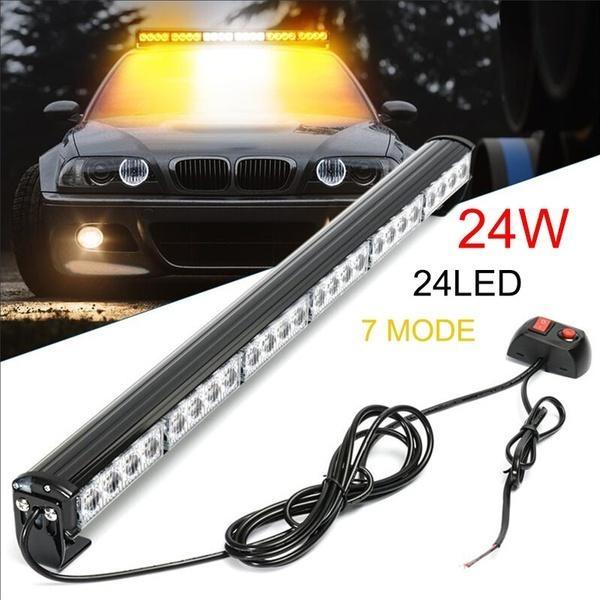 27 Emergency Warning Traffic Advisor Vehicle Strobe Light Bar Amber