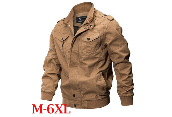 Slim Fit Jacket Men Fashion Thin Military Army Pilot Bomber Jacket Tactical Male Casual Jacket Coat Jaqueta Masculina Plus Size Cotton Long Sleeved Zippers Stand Collar Outwear Tops Size M-XXXXXXL