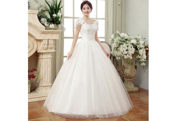 Lady White Wedding Women Lace Flower Wedding Dress Female Princess Dress