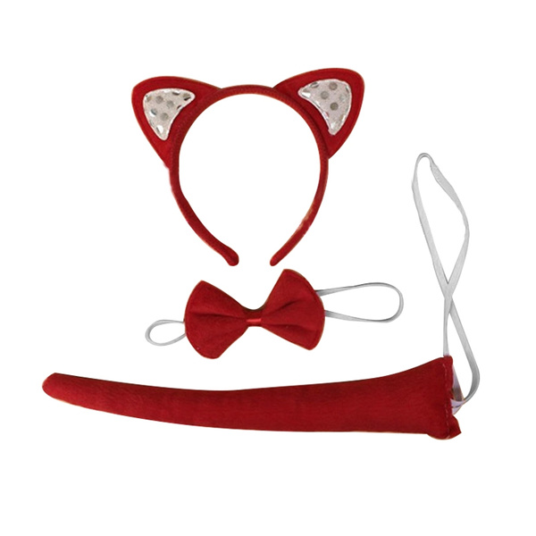 FOX EARS AND TAIL SET ON HEADBAND ONE SIZE ACCESSORY FANCY DRESS COSTUME COSPLAY