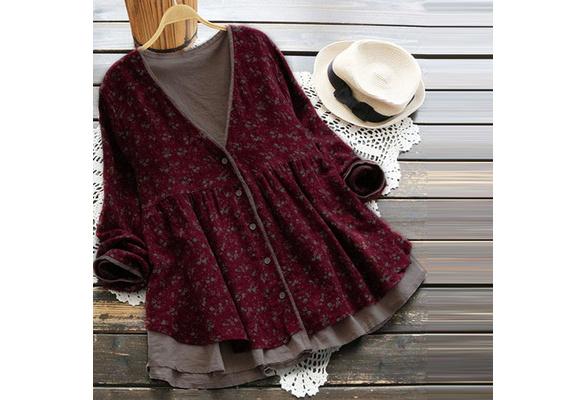 L-XXXXXL 2018 Mori Girl Fashion Long-sleeved V-neck COTTON Shirt Casual Verstidos Cardigan Tops 5 Colors