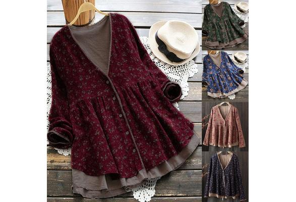 Plus Size S-XXXXXL 5 Colors 2018 Women Floral Printed Cotton Top Blouse V-Neck Floral Loose Jacket Coat
