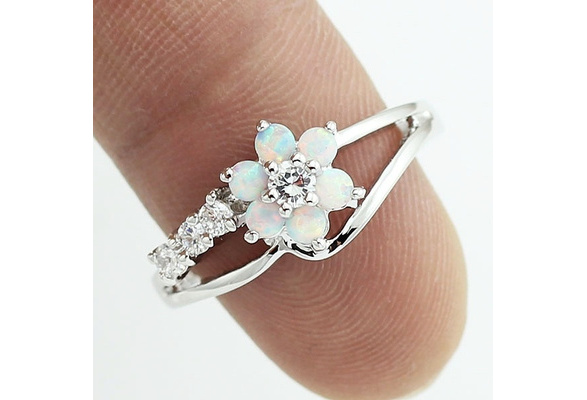 Women/'s Exquisite 925 Silver Platinum Opal Gemstone Ring Wedding Gift Size 6-10