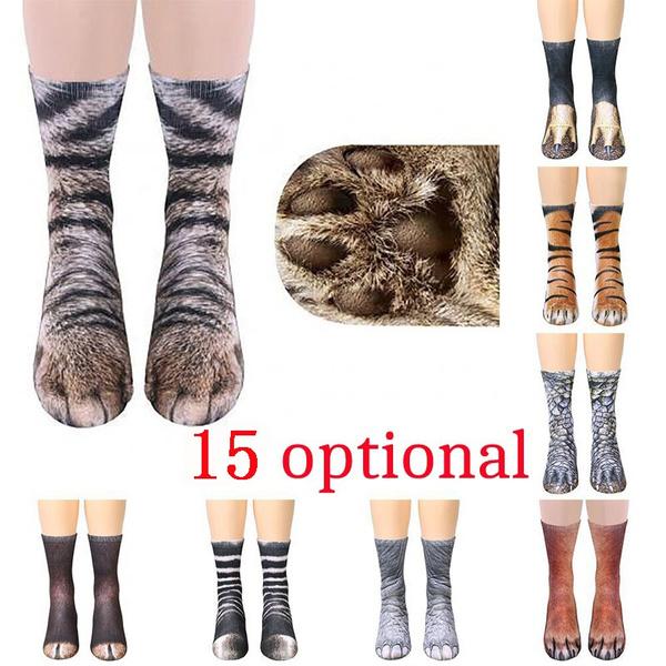 0f0a66d94 Warm Soft Cotton 3D Animal Paw Printed Socks Creative Tiger Cats ...