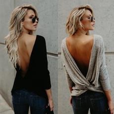 blouse, Fashion, long sleeve blouse, openbackblouse