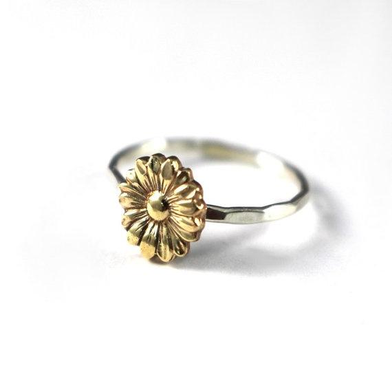 fd552106e Geek | Vintage Sunflower Jewelry Women 925 Sterling Silver Flower Stack Sunflower  Ring 18k Gold Floral Boho Rings Bride Wedding Gifts