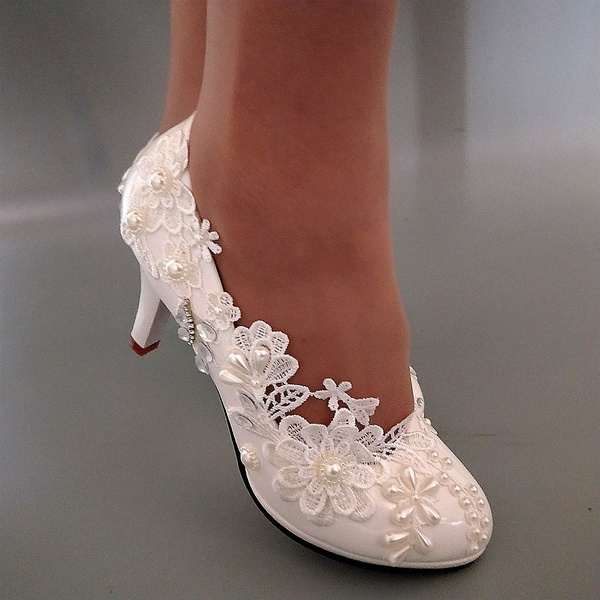 84f1740353a Beautiful women white lace crystal Wedding shoes Bridal heels pumps  size35-40 HEEL 3