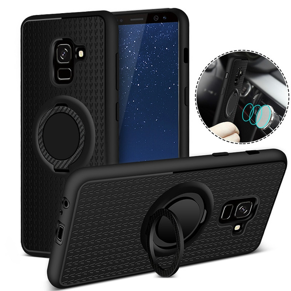 best sneakers 2c001 87db8 Samsung Galaxy A8 Plus (2018) Car Magnetic Suction Bracket Finger Ring Soft  TPU Back Cover for Samsung Galaxy Phone iPhone