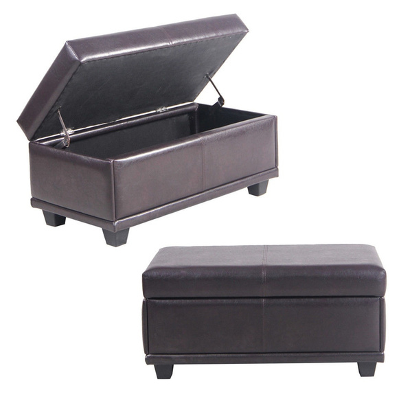 Swell Black Faux Leather Ottoman Storage Bench Great As A Double Seat Or A Footstool Coffee Table Kids Toy Chest Trunk Pouffe Living Room Furniture Squirreltailoven Fun Painted Chair Ideas Images Squirreltailovenorg