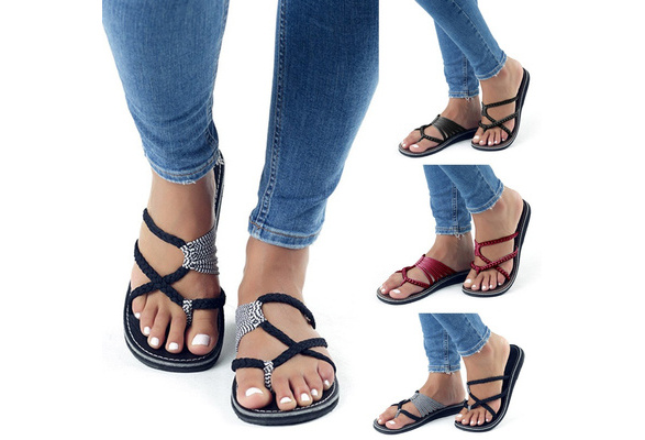 High Quality Women Spring and Summer Fashion Bandage Sandals Casual Open Toe Beach Sandals Cute Flip-flops Work Shoes Summer Slipper Plus Size