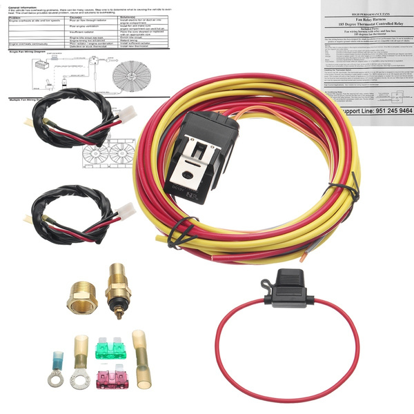 12v dual electric fan 40 amp relay wiring harness heavy duty thermostat  sensor kit with instructions | wish
