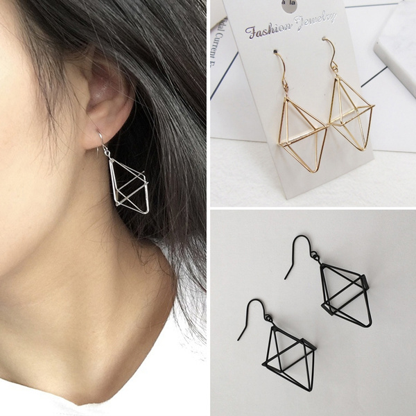 b5aa8820aae43 Fashion Simple Abstract Earrings Women Creative Hollow Human Face Palm Drop  Earring Gold Color Punk Style Gifts