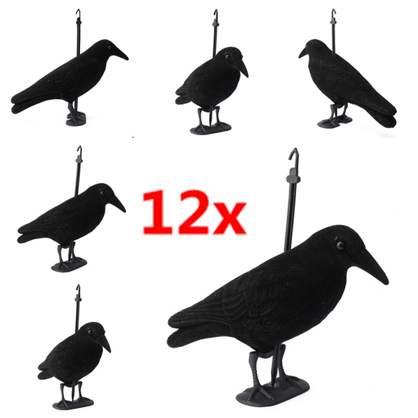 6/12x Garden Flocked Hard Plastic jet black Crow Decoy Hunting Stand Body  Feet Stake