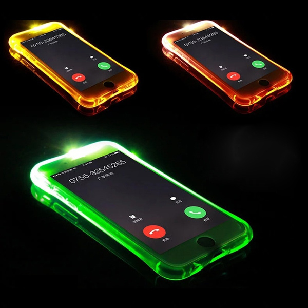 brand new 21361 18ce0 For iPhone 7 Case 5 5S LED Flash Light Soft TPU Up Remind Incoming Call  Cover For iPhone X Case For iPhone 6 6S Plus Cases