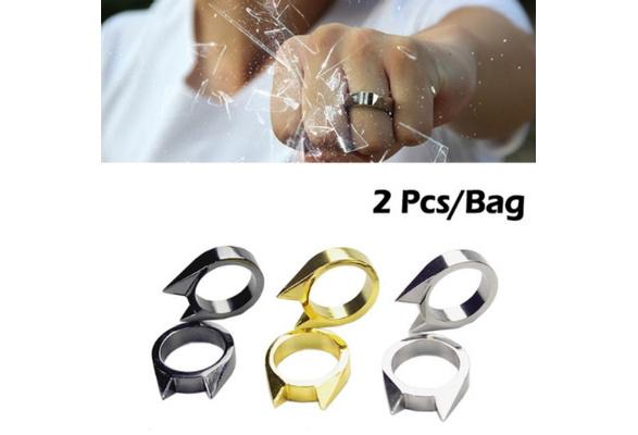2 Pcs Bag Trendy Cat Ear Self Defence Finger Ring Pendant Keychain
