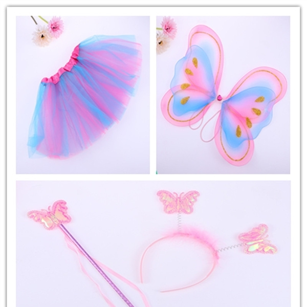 3942398ab 4Pcs/set Fairy Princess Butterfly Wing Wand Headband Tutu Skirt Costume for  Masquerade Party Stage Performance Cosplay