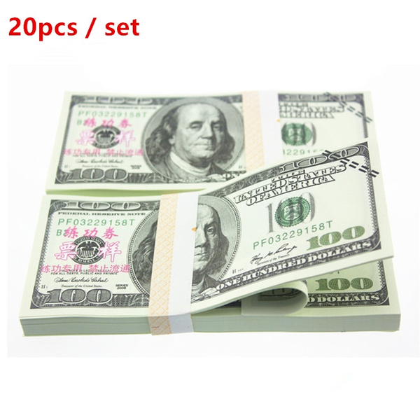 20pcs 100 Australian dollar 100 US dollars practice coupons foreign  currency notes practicing banknotes magic props practicing paper