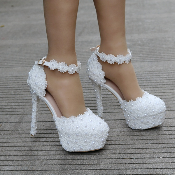 83e5dd073 Wish | Crystal Queen White Lace Flower Bridal Shoes 14CM High Heel Round  Toe Wedding Pumps Ankle Straps Women Sandals Bridesmaid Shoes