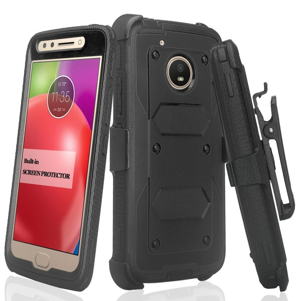 size 40 491a6 6cae4 Motorola Moto E4 Plus Case, SOGA Shockproof Rugged Hybrid Armor Case Cover  with Belt Clip Holster & Built-in Screen Protector for Moto E4 Plus [Full  ...