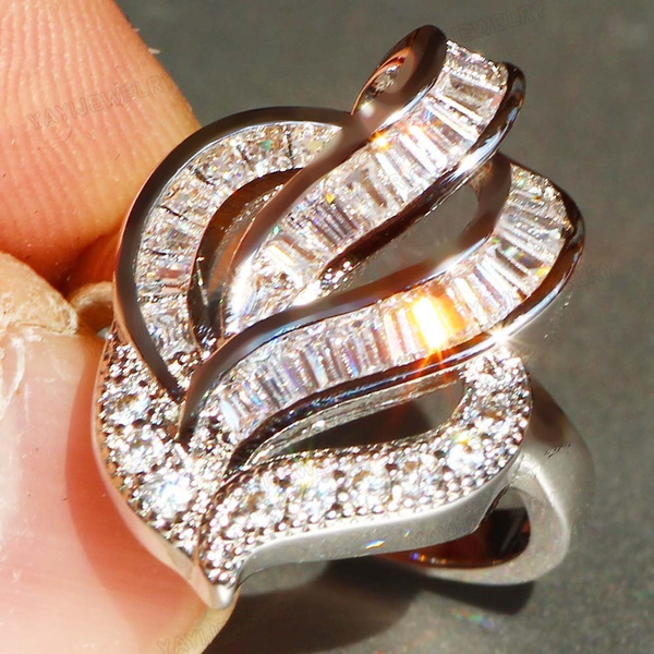 Sterling Silver 925 White Sapphire Heart Band Ring   Size 8 9