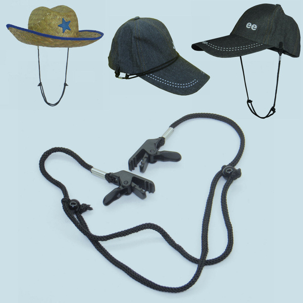 2x Cap Strap Hat Retainer Wind Cord Chin Strap Clips Motorcycles Boating  Fishing