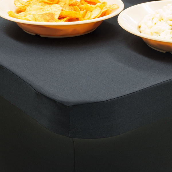 Wish Black Table Cloths Fitted Tablecloth Cover 6 Ft Black Rectangular Skirts Polyester Spandex Elastic Stretchable Linen Stain Wrinkle Proof